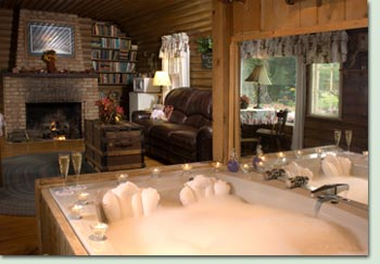 Romantic Log Cabins Have a Jacuzzi for 2 and Fireplace!